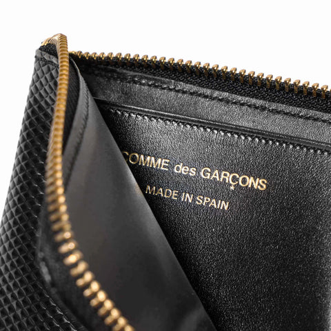 comme des garcons wallet Luxury Group Leather Half Zip Wallet Black