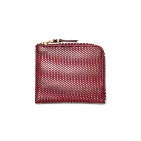 Comme des Garcons WALLET Luxury Group Leather Half Zip Wallet Burgundy