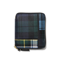 Comme des Garcons WALLET Tartan Patchwork Full Zip Wallet Green