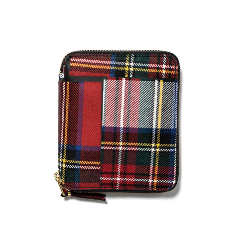 comme des garcons wallet Tartan Patchwork Full Zip Wallet Red