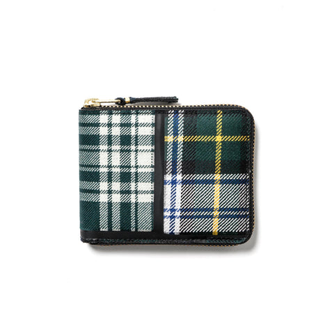 comme des garcons wallet Tartan Patchwork Small Full Zip Wallet Green