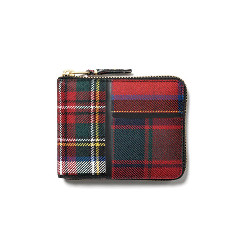 comme des garcons wallet Tartan Patchwork Small Full Zip Wallet red