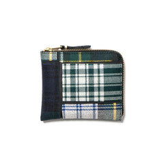 Comme des Garcons WALLET Tartan Patchwork Half Zip Wallet Green
