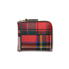 Comme des Garcons WALLET Tartan Patchwork Half Zip Wallet Red