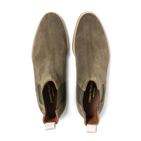 Common Projects Chelsea Boot in Suede Olive