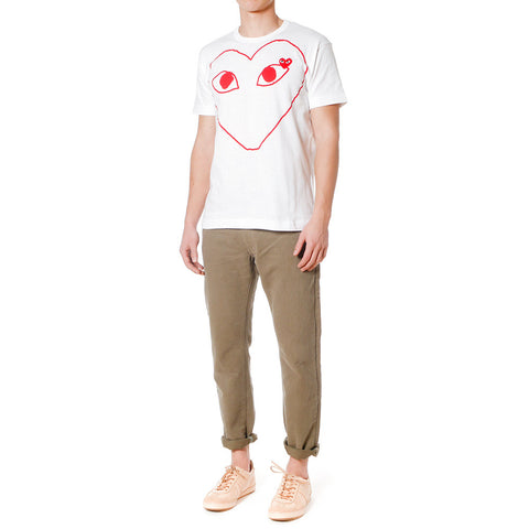 Cotton Jersey Print Red Line Heart Red Emblem Tee White