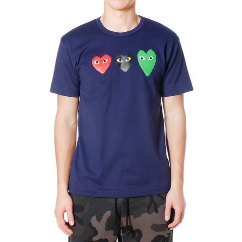 Cotton Jersey Print Triple Heart Tee Navy