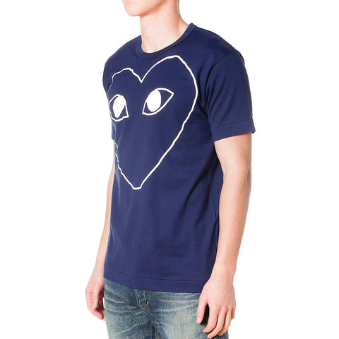 Cotton Jersey Print White Line Heart Tee Navy