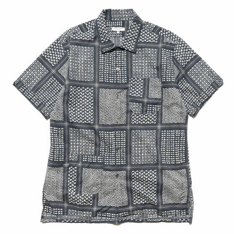 Engineered Garments Camp Shirt/ Afghan Print Navy/White