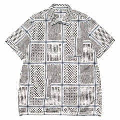 Engineered Garments Camp Shirt/ Afghan Print White/Black