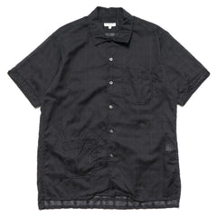 Engineered Garments Camp Shirt/ Window Pane Cotton Dobby Dark Navy
