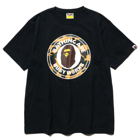 A BATHING APE 1st Camo Busy Works Tee Black x Yellow, T-Shirts