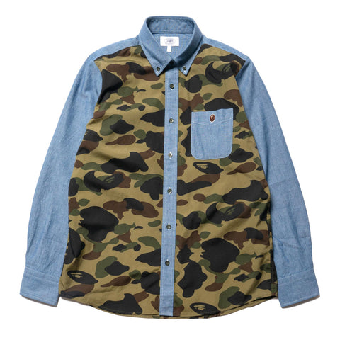 A BATHING APE 1st Camo Chambray BD Shirt Green, Tops