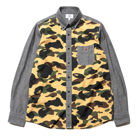A BATHING APE 1st Camo Chambray BD Shirt Yellow, Tops