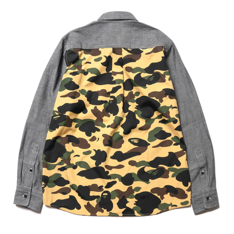 A BATHING APE 1st Camo Chambray BD Shirt Yellow, Shirts