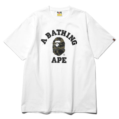 A BATHING APE 1st Camo College Tee White x Green, T-Shirts