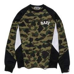 A BATHING APE 1st Camo Color Block Crewneck Green, Sweaters