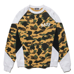 A BATHING APE 1st Camo Color Block Crewneck Yellow, Sweaters