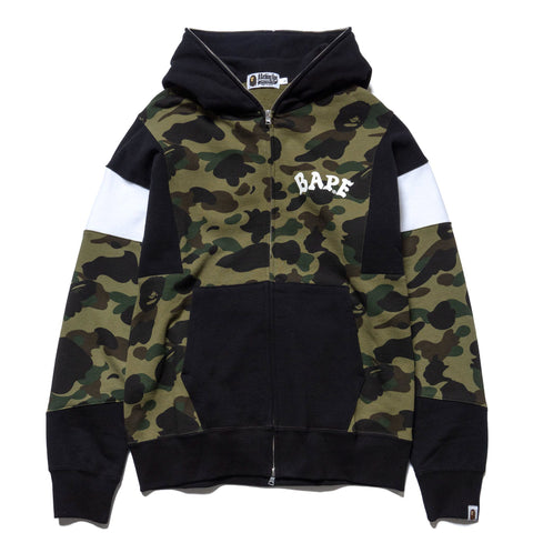 A BATHING APE 1st Camo Color Block Full Zip Hoodie Green, Sweaters