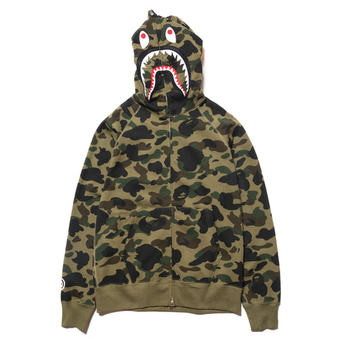 A BATHING APE 1st Camo Shark Full Zip Hoodie Green, Sweaters