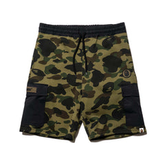 A BATHING APE 1st Camo Sweat Cargo Shorts Green, Shorts