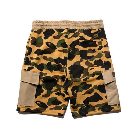 A BATHING APE 1st Camo Sweat Cargo Shorts Yellow, Bottoms