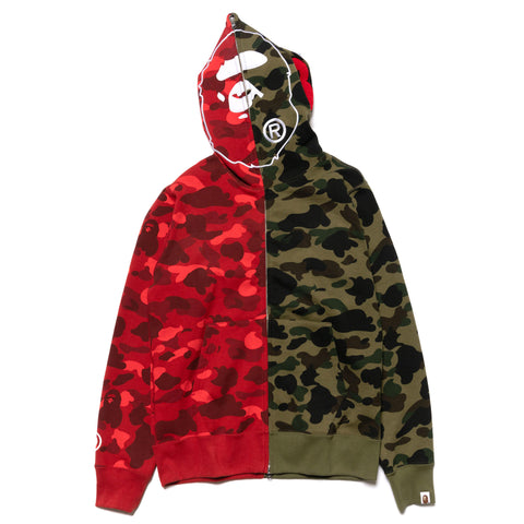 ec046411b701 A BATHING APE 1st X Color Camo 2nd Ape Half Full Zip Hoodie Green x Red ...
