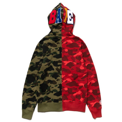 A BATHING APE 1st X Color Camo 2nd Ape Half Full Zip Hoodie Green x Red, Sweaters