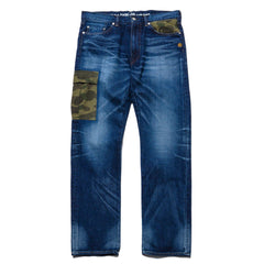 A BATHING APE 2008 Type-05 Remake Damaged Denim Pants Indigo, Bottoms