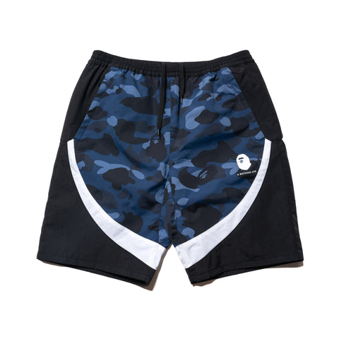A BATHING APE Color Camo Color Block Shorts Navy, Shorts