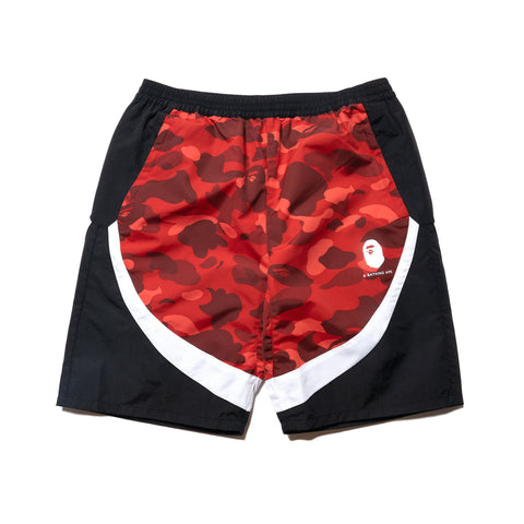 A BATHING APE Color Camo Color Block Shorts Red, Bottoms