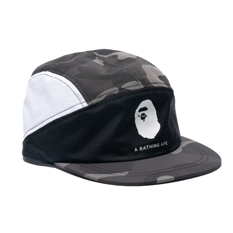 A BATHING APE Color Camo Block Running Cap Black, Headwear