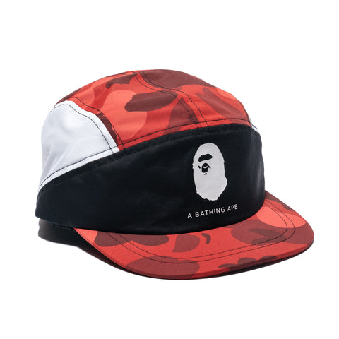 A BATHING APE Color Camo Block Running Cap Red, Headwear