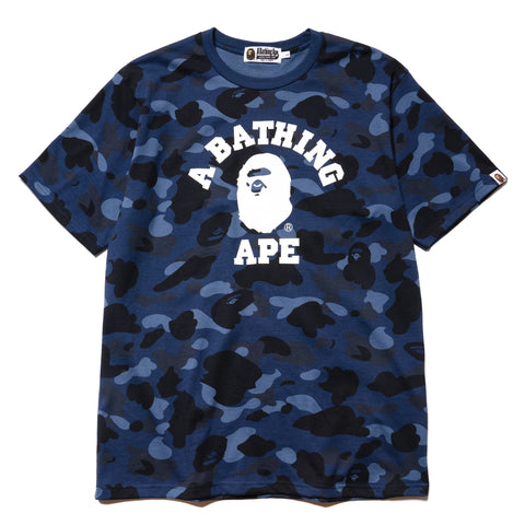 A BATHING APE Color Camo College Tee Navy, T-Shirts