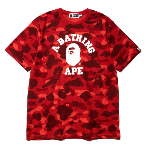 A BATHING APE Color Camo College Tee Red, T-Shirts