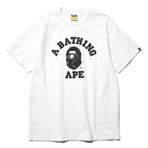 A BATHING APE Color Camo College Tee White x Black, T-Shirts