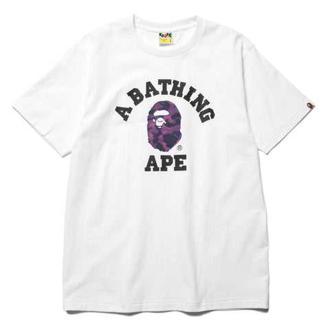 A BATHING APE Color Camo College Tee White x Purple, T-Shirts