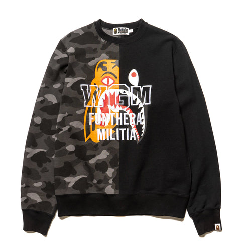 A BATHING APE Color Camo Tiger Shark Crewneck Black, Sweaters