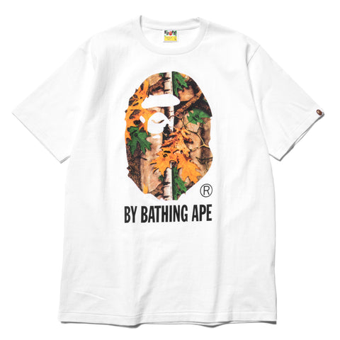 A BATHING APE Forest Camo By Bathing Tee White x Green, T-Shirts