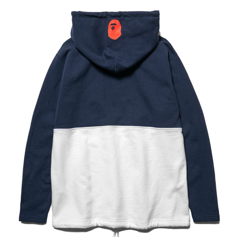 A BATHING APE Half Zip Wide Pullover Hoodie Navy, Sweaters