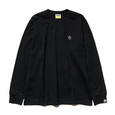A BATHING APE Ape Head One Point L/S Tee Black, T-Shirts