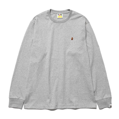 A BATHING APE Ape Head One Point L/S Tee Gray, T-Shirts