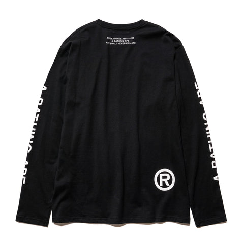 A BATHING APE Mad Face Wide L/S Tee Black, T-Shirts