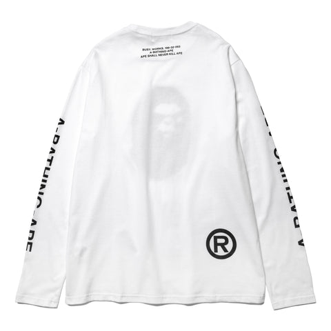 A BATHING APE Mad Face Wide L/S Tee White, T-Shirts