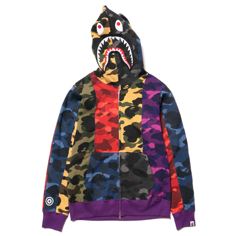 A BATHING APE Mix Camo Crazy Shark Full Zip Hoodie Multi, Sweaters