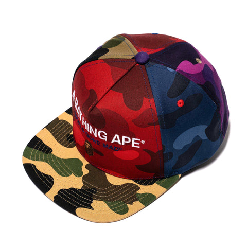 A Bathing Ape Mix Camo Crazy Snapback Multi, Headwear