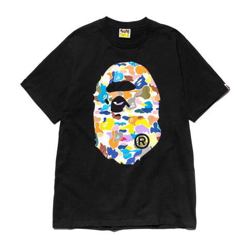 A Bathing Ape Multi Camo Big Ape Head Tee Black, T-Shirts