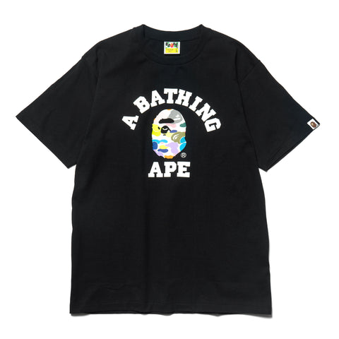 A Bathing Ape Multi Camo College Tee Black, T-Shirts
