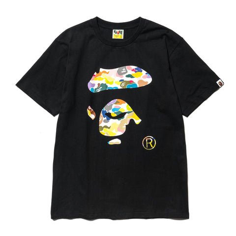 A Bathing Ape Multi Camo Ape Face Tee Black, T-Shirts