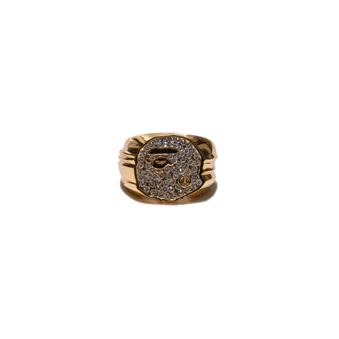 A BATHING APE Rhinestone Ape Head Ring Gold, Accessories